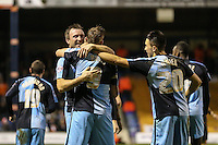 Paul Hayes of Wycombe Wanderers (9) celebrates scoring his team's second goal against Luton Town to make it 0-2 with Garry Thompson of Wycombe Wanderers during the Sky Bet League 2 match between Luton Town and Wycombe Wanderers at Kenilworth Road, Luton, England on 26 December 2015. Photo by David Horn.