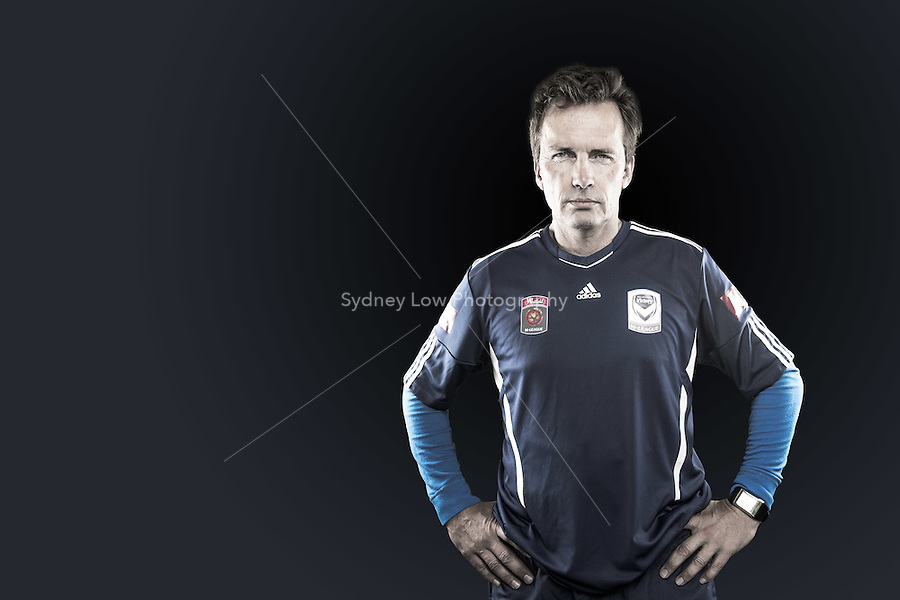Melbourne Victory head coach Mike Mulvey joined the club barely a week from the start of the season, but has molded a team of players more than capable of challenging for the W-League title. //  The Manchester born coach has had previous posts as manager of the now defunct Gold Coast United A-League franchise, as well as the Australian U17 girls team. //  (Copyright Photo Sydney Low. Text Zee Ko)