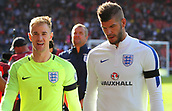 June 10th 2017, Hampden park, Glasgow, Scotland; World Cup 2018 Qualifying football, Scotland versus England; Joe Hart and Fraser Forster chat as they leave the field at full time