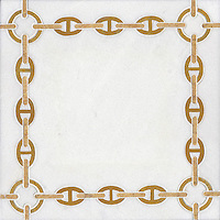 Bette, a stone water jet mosaic, shown in Thassos, Sunshine, and Jerusalem Gold, is part of the Ann Sacks Beau Monde collection sold exclusively at www.annsacks.com