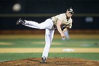 Wake Forest Demon Deacons starting pitcher Colin Peluse (8) follows through on his delivery against the Davidson Wildcats at David F. Couch Ballpark on February 28, 2017 in Winston-Salem, North Carolina.  The Demon Deacons defeated the Wildcats 13-5.  (Brian Westerholt/Four Seam Images)