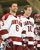 Ryan Grimshaw (Harvard - 6), Eric Kroshus (Harvard - 10) - The Harvard University Crimson defeated the visiting Clarkson University Golden Knights 3-2 on Harvard's senior night on Saturday, February 25, 2012, at Bright Hockey Center in Cambridge, Massachusetts.