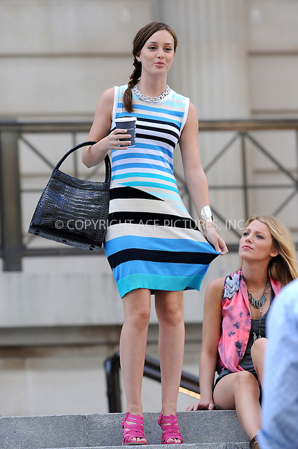 WWW.ACEPIXS.COM . . . . . ....July 13 2009, New York City....Actors Leighton Meester and Blake Lively on the Upper East Side set of the TV show 'Gossip Girl' on July 13 2009 in New York City....Please byline: KRISTIN CALLAHAN - ACEPIXS.COM.. . . . . . ..Ace Pictures, Inc:  ..tel: (212) 243 8787 or (646) 769 0430..e-mail: info@acepixs.com..web: http://www.acepixs.com