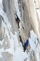 Ice climbing on the Diamond, Long's Peak, Rocky Mountain National Park