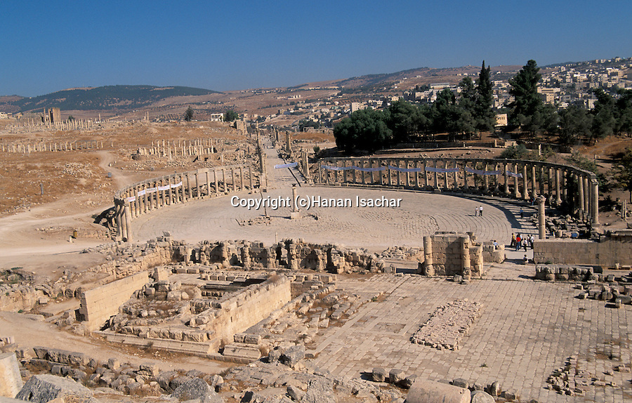Jordan, Jerash. A view of the Forum and the Cardo&#xA;<br />