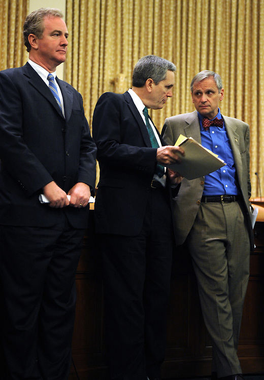From left, Reps. Chris Van Hollen, D-Md., Lloyd Doggett, D-Texas, and Earl Blumenauer, D-Ore., attend a news conference to introduce a bill to reduce the pollution that causes global warming, June 17, 2008.