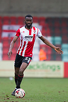 Emmanuel Onariase of Cheltenham Town during the Sky Bet League 2 match between Cheltenham Town and Cambridge United at the LCI Stadium, Cheltenham, England on 18 March 2017. Photo by Mark  Hawkins / PRiME Media Images.