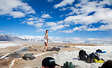 USA, California, Mammoth, friends gather for a soak in the Mammoth Hot Springs
