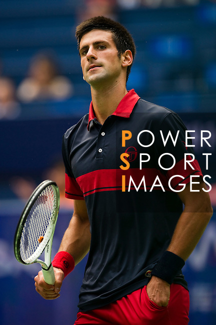 SHANGHAI, CHINA - OCTOBER 15:  Novak Djokovic of Serbia looks on during his match against Guillermo Garcia-Lopez of Spain during day five of the 2010 Shanghai Rolex Masters at the Shanghai Qi Zhong Tennis Center on October 15, 2010 in Shanghai, China.  (Photo by Victor Fraile/The Power of Sport Images) *** Local Caption *** Novak Djokovic