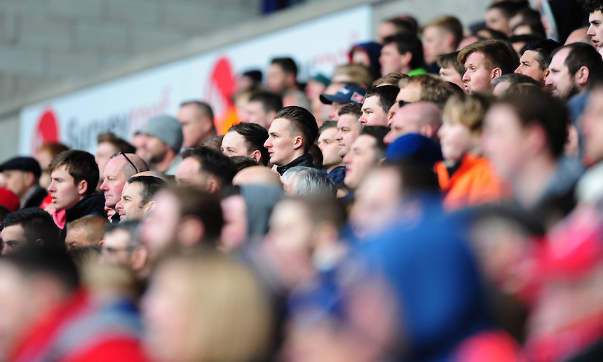 Middlesbrough fans during the second half<br /> <br /> Photographer Chris Vaughan/CameraSport<br /> <br /> Football - The Football League Sky Bet Championship - Bolton Wanderers v Middlesbrough - Saturday 16th April 2016 - Macron Stadium - Bolton<br /> <br /> &copy; CameraSport - 43 Linden Ave. Countesthorpe. Leicester. England. LE8 5PG - Tel: +44 (0) 116 277 4147 - admin@camerasport.com - www.camerasport.com