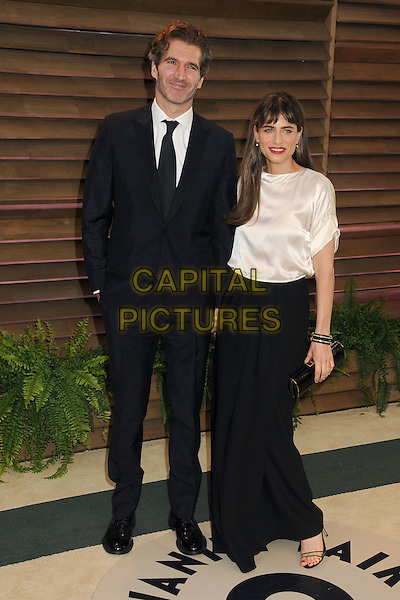 02 March 2014 - West Hollywood, California - David Benioff, Amanda Peet. 2014 Vanity Fair Oscar Party following the 86th Academy Awards held at Sunset Plaza.  <br /> CAP/ADM/BP<br /> &copy;Byron Purvis/AdMedia/Capital Pictures