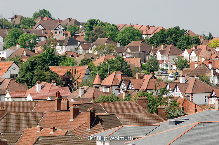 Suburban housing in Wembley, North London.