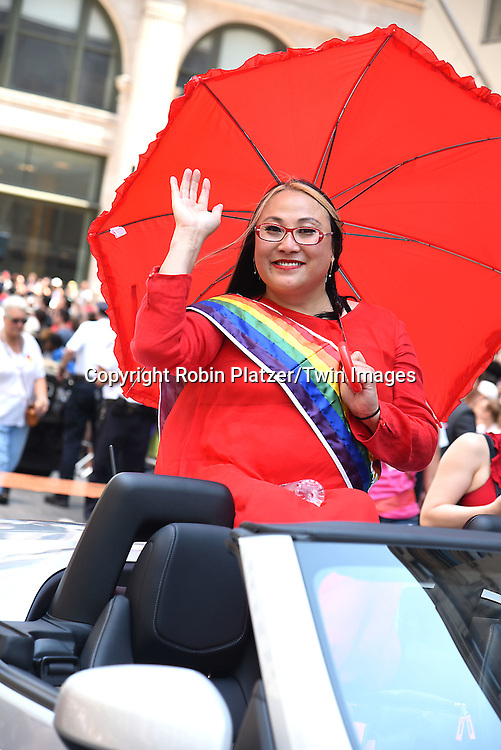 Grand Marshal Cecilia Chung attends the New York City Gay Pride March 2016 on June 26, 2016 on Fifth Avenue in New York City, New York, USA.<br /> <br /> photo by Robin Platzer/Twin Images<br />  <br /> phone number 212-935-0770