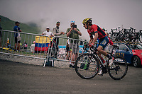 Franco Pellizotti (ITA/Bahrain-Merida) up the brutal Col du Portet (HC/2250m/16km at 8.7%/Souvenir Henri Desgrange) in this historically short stage (only 65km)<br /> <br /> Stage 17: Bagnères-de-Luchon > Saint-Lary-Soulan (65km)<br /> <br /> 105th Tour de France 2018<br /> ©kramon