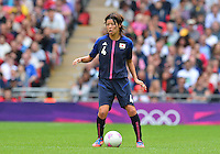 August 06, 2012..Japan's Saki Kumagai #4 during Semi Final match at the Wembley Stadium on day ten in Wembley, England. Japan defeats France 2-1 to reach Women's Finals of the 2012 London Olympics.