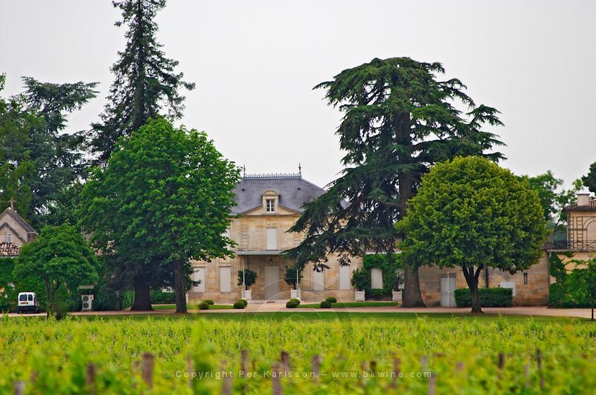 A view of Chateau Cheval Blanc across the vineyard Saint Emilion Bordeaux Gironde Aquitaine France
