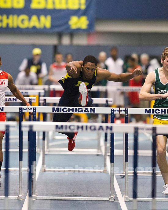 The University of Michigan men's track and field team tallied three winning performances at Silverston Invitational at the U-M Indoor Track Building in Ann Arbor, Mich., on February 18, 2012.