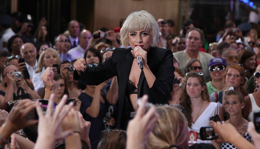 """NEW YORK - JULY 09:  Lady Gaga performs on NBC's """"Today"""" in Rockefeller Center on July 9, 2010 in New York City.  (Photo by Soul Brother/FilmMagic)"""