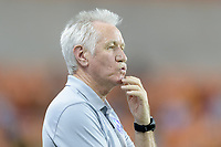 Houston, TX - Saturday June 17, 2017: Tom Sermanni reacts after his team just misses a shot on the Houston goal during a regular season National Women's Soccer League (NWSL) match between the Houston Dash and the Orlando Pride at BBVA Compass Stadium.