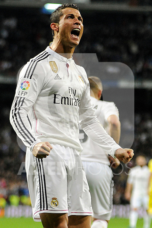 Real Madrid´s Cristiano Ronaldo celebrates a goal during 2014-15 La Liga match between Real Madrid and Villarreal CF at Santiago Bernabeu stadium in Madrid, Spain. March 01, 2015. (ALTERPHOTOS/Luis Fernandez)