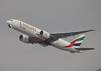 An Emirates SkyCargo Boeing 777-F1H Registration A6-EFL at Hong Kong Chek Lap Kok International Airport on 4.4.19 going to Dubai World Central International Airport, United Arab Emirates.