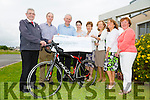 Cyclists Ray Moynihan and  Joe Moriarty presenting a cheque to the Kerry Hospic and KGH Pallative Care Unit for 16,571 euros the proceeds of a cycle from The Atlantic to the Mediterranean,San Sebastian to Barcelona, The cycle began on the 16th of May and finished on the 21st of May, Pictured front l-r Ted Moynihan, Kerry Hospice,Ray Moynihan, Joe Moriarty, Marie O'Connell,Pallative care unit, Margaret O'Shea Spa/Fenit Hospice,Mairead Moriarty Spa/Fenit Hospice Chairman and Noreen O'Leary