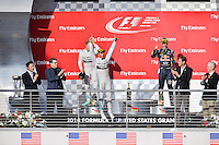Lewis Hamilton of Mercedes AMG Petronas F1 jumps with joy after winning 2014 Formula 1 United States Grand Prix race, Sunday, November 02, 2014 in Austin, Tex. (Mo Khursheed/TFV Media via AP Images)