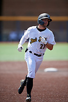 West Virginia Black Bears Cory Wood (27) rounds the bases after hitting a home run during a NY-Penn League game against the Batavia Muckdogs on August 29, 2019 at Monongalia County Ballpark in Morgantown, New York.  West Virginia defeated Batavia 5-4 in ten innings.  (Mike Janes/Four Seam Images)