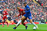 Chelsea's Ruben Loftus-Cheek vies for possession with  Liverpool's Virgil van Dijk<br /> <br /> Photographer Richard Martin-Roberts/CameraSport<br /> <br /> The Premier League - Liverpool v Chelsea - Sunday 14th April 2019 - Anfield - Liverpool<br /> <br /> World Copyright © 2019 CameraSport. All rights reserved. 43 Linden Ave. Countesthorpe. Leicester. England. LE8 5PG - Tel: +44 (0) 116 277 4147 - admin@camerasport.com - www.camerasport.com