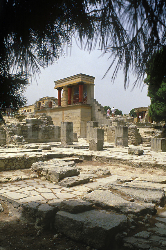 A reconstructed part of the ancient Minoan palace at Knossos.