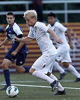 Boston College midfielder Kyle Bekker (10) on the attack. Boston College defeated University of Rhode Island, 4-2, at Newton Campus Field, September 25, 2012.
