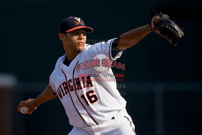 Starting pitcher Branden Kline #16 of the Virginia Cavaliers in action against the St. John's Red Storm in the championship game of the Charlottesville Regional at Davenport Field on June 5, 2010, in Charlottesville, Virginia.  The Cavaliers defeated the Red Storm 5-3.  Photo by Brian Westerholt / Four Seam Images