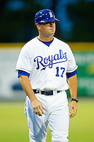 Burlington Royals hitting coach Justin Gemoll (17) coaches third base during the Appalachian League game against the Danville Braves at Burlington Athletic Park on July 18, 2012 in Burlington, North Carolina.  The Royals defeated the Braves 4-3 in 11 innings.  (Brian Westerholt/Four Seam Images)