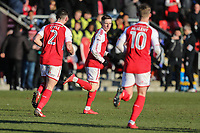 Ashley Hunter of Fleetwood Town (centre) celebrates after he scores his team's first goal of the game to make the score 1-1 during the Sky Bet League 1 match between Fleetwood Town and MK Dons at Highbury Stadium, Fleetwood, England on 24 February 2018. Photo by David Horn / PRiME Media Images