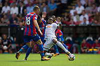 Swansea City's Leroy Fer holds off the challenge from Crystal Palace's Patrick van Aanholt     <br /> <br /> <br /> Photographer Craig Mercer/CameraSport<br /> <br /> The Premier League - Crystal Palace v Swansea City - Saturday 26th August 2017 - Selhurst Park - London<br /> <br /> World Copyright &copy; 2017 CameraSport. All rights reserved. 43 Linden Ave. Countesthorpe. Leicester. England. LE8 5PG - Tel: +44 (0) 116 277 4147 - admin@camerasport.com - www.camerasport.com