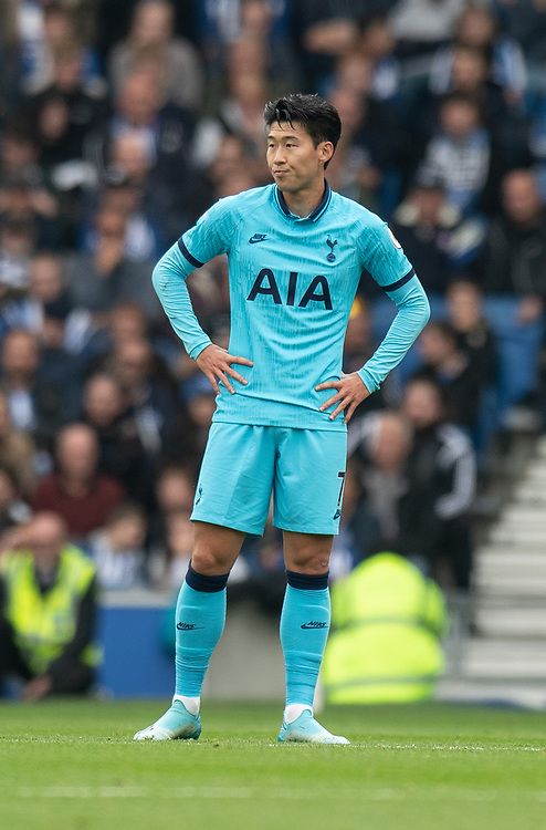 Tottenham Hotspur's Son Heung-Min<br /> <br /> Photographer David Horton/CameraSport<br /> <br /> The Premier League - Brighton and Hove Albion v Tottenham Hotspur - Saturday 5th October 2019 - The Amex Stadium - Brighton<br /> <br /> World Copyright © 2019 CameraSport. All rights reserved. 43 Linden Ave. Countesthorpe. Leicester. England. LE8 5PG - Tel: +44 (0) 116 277 4147 - admin@camerasport.com - www.camerasport.com