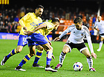 Valencia CF's Jose Gaya  and UD Las Palmas' Momo, David Simon during spanish King's Cup match. January 21, 2016. (ALTERPHOTOS/Javier Comos)
