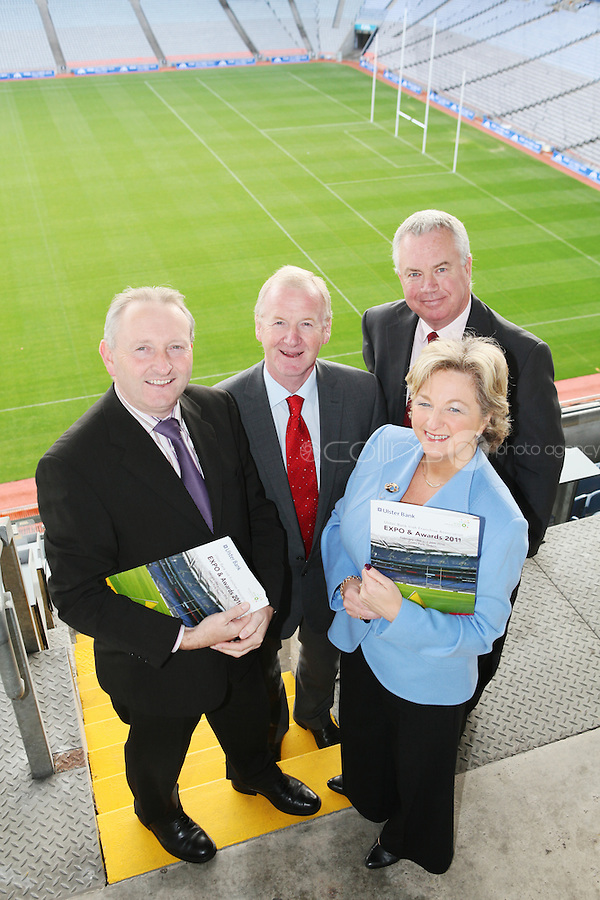 NO REPRO FEE. 19/10/2010. Ulster Bank Irish Franchise Association EXPO and Awards. Pictured at the launch of the Ulster Bank Irish Franchise Association EXPO and Awards which takes place on February 25th and 26th 2011 at Croke Park Dublin were David Killeen, Chairman of The Irish Franchise Association, Brian Hunt, Central Dublin Director of Business Banking, Ulster Bank,  Orna Stokes, Senior Manger, Strategic Operations, Ulster Bank and Tom Shanahan, Executive Director of the Irish Franchise Association.  See www.irishfranchiseassociation.com for information and to download entry forms and information on the exhibition. Picture James Horan/Collins Photos