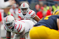 Ohio State Buckeyes linebacker Darron Lee (43) against Michigan Wolverines at Michigan Stadium in Arbor, Michigan on November 28, 2015.  (Dispatch photo by Kyle Robertson)