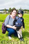 Kay Mansfield Ballymac with the smallest jockey Mickey Brosnan at the Killorglin Pony show on Sunday