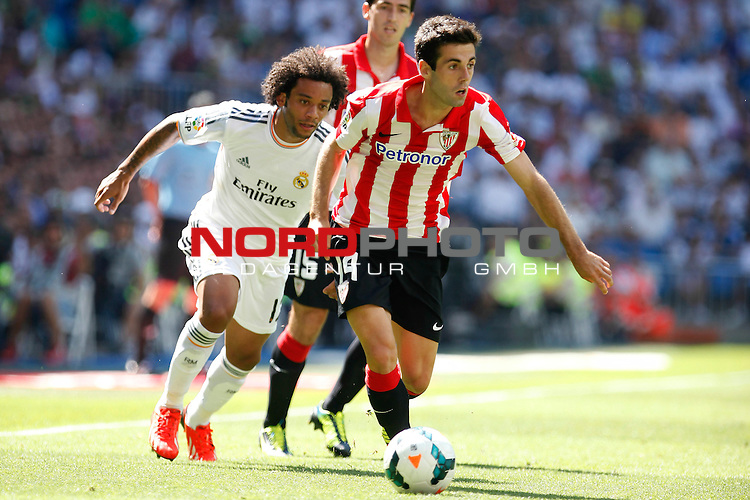 Real Madrid's Marcelo and and Athletic Club's Susaeta during La Liga Match. September 01, 2013. Foto © nph / Caro Marin)