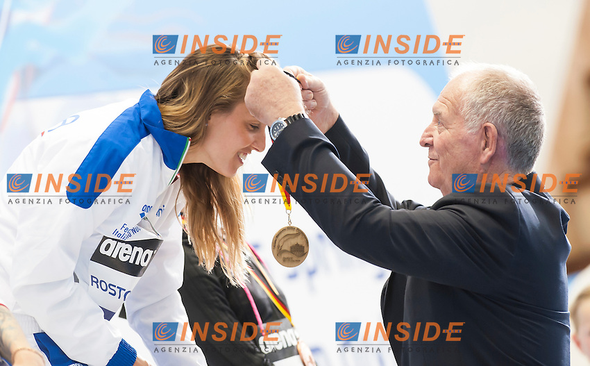 Tania Cagnotto ITA gold medal awarded by Klaus Di Biasi<br /> 1m Springboard Women final<br /> Day 04 12/06/2015  <br /> 2015 Arena European Diving Championships<br /> Neptun Schwimmhalle<br /> Rostock Germany 09-14 June 2015 <br /> Photo Giorgio Perottino/Deepbluemedia/Insidefoto