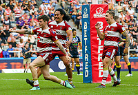 Wigan Warriors' John Bateman celebrates after scoring his side's third try<br /> <br /> Photographer Alex Dodd/CameraSport<br /> <br /> Betfred Super League Round 15 - Magic Weekend - Wigan Warriors v Warrington Wolves - Saturday 19th May 2018 - St James' Park - Newcastle<br /> <br /> World Copyright &copy; 2018 CameraSport. All rights reserved. 43 Linden Ave. Countesthorpe. Leicester. England. LE8 5PG - Tel: +44 (0) 116 277 4147 - admin@camerasport.com - www.camerasport.com