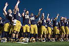 Oct 11, 2014; The football team sings the Alma Mater after defeating North Carolina 50-43. (Photo by Matt Cashore)
