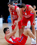 Serbia's Nemanja Bjelica, Stefan Markovic and Zoran Erceg during European championship basketball match for third place between France and Serbia on September 20, 2015 in Lille, France  (credit image & photo: Pedja Milosavljevic / STARSPORT)