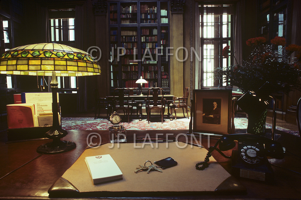 Cambridge, MA, September 1986. Harvard University, established in 1636, is the oldest institution of higher learning in the United States. Harvard's history, influence, and wealth have made it one of the most prestigious universities in the world. Memorial room at Harvard University.