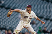 Texas A&M Aggies pitcher Ty Schlottmann (36) ACTION during Houston College Classic against the Nebraska Cornhuskers on March 6, 2015 at Minute Maid Park in Houston, Texas. Texas A&M defeated Nebraska 2-1. (Andrew Woolley/Four Seam Images)