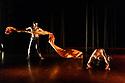 London, UK. 28.04.2017. Shobana Jeyasingh presents the London premiere of MATERIAL MEN REDUX, at The Place. Dancers are: Shailesh Bahoran (purple trousers) and Sooraj Subramaniam (grey trousers). Photograph © Jane Hobson.