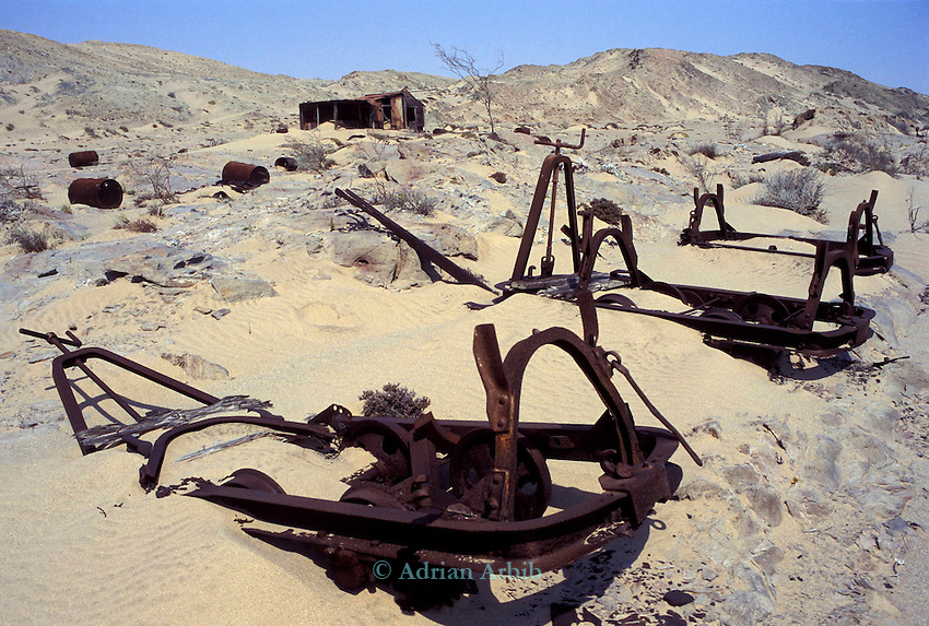 Remnants of  an 19th century  diamond mining operation in the Namib Naukluft desert. Owned by the Diamond  company  De Beers the  area has restricted access.