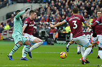 Declan Rice of West Ham United tackles Alexandre Lacazetten of ArsenalDeclan Rice of West Ham United tackles  Alexandre Lacazetten of Arsenal during West Ham United vs Arsenal, Premier League Football at The London Stadium on 12th January 2019